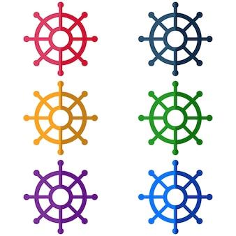 Icona di gioco tradizionale icona elemento di barca colorato direzione