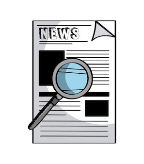 Icona di giornale e lente di ingrandimento