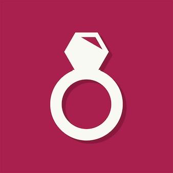 Icona di giorno di san valentino anello di diamanti
