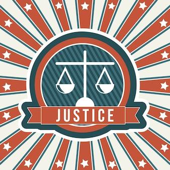 Icona di giustizia sopra illustrazione vettoriale sfondo vintage
