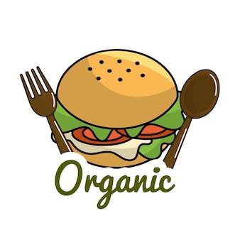Icona di hamburger con cucchiaio e forchetta concetto organico