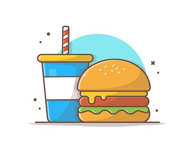 Icona di hamburger con soda e ghiaccio