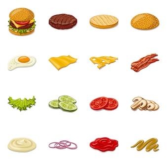 Icona di hamburger e sandwich. impostare hamburger e fetta simbolo di borsa.
