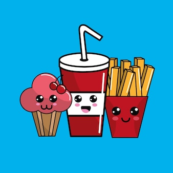 Icona di kawaii fast food adorabile espressione