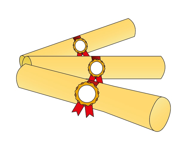 Icona di laurea di diplomi di pergamena