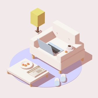 Icona di lavoro a casa o istruzione online include sedia, tavolo, laptop, tazza di caffè e pantofole