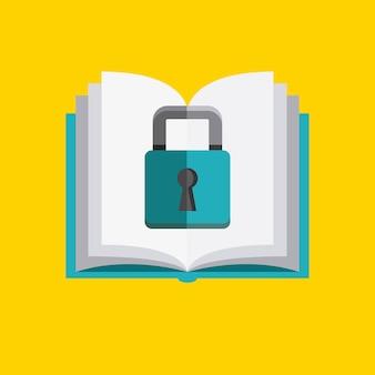 Icona di libro e lucchetto. design del copyright. grafica vettoriale