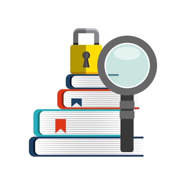 Icona di libro, lupe e lucchetto. design del copyright. grafica vettoriale