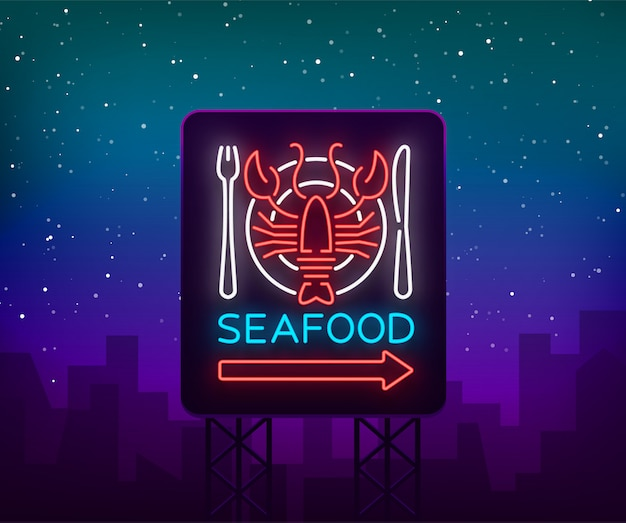 Icona di logo al neon di frutti di mare