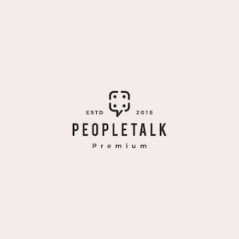 Icona di logo della bolla di parlare chat comunità di gruppo di persone