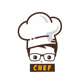 Icona di logo di arte del fumetto di carattere maestro chef maschio