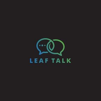 Icona di logo di eco foglia talk chat bolla