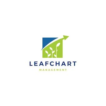 Icona di logo di statistiche del grafico a barre della foglia