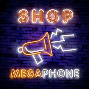 Icona di luce al neon del megafono. segno di servizio incandescente.