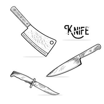 Icona di mannaia e coltello. illustrazione vettoriale