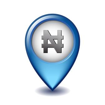 Icona di marcatore di mappatura del segno di valuta di naira. illustrazione del simbolo del denaro nigeriano sul puntatore della mappa.