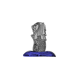 Icona di merlion monoline