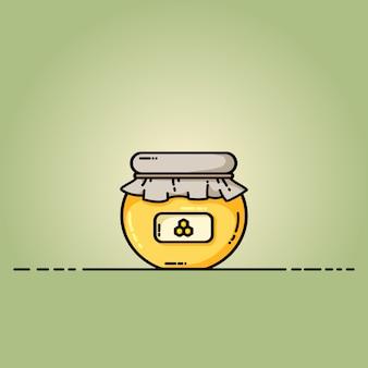 Icona di miele barattolo di web. illustrazione in stile piano