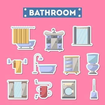 Icona di mobili da bagno impostata in stile piano