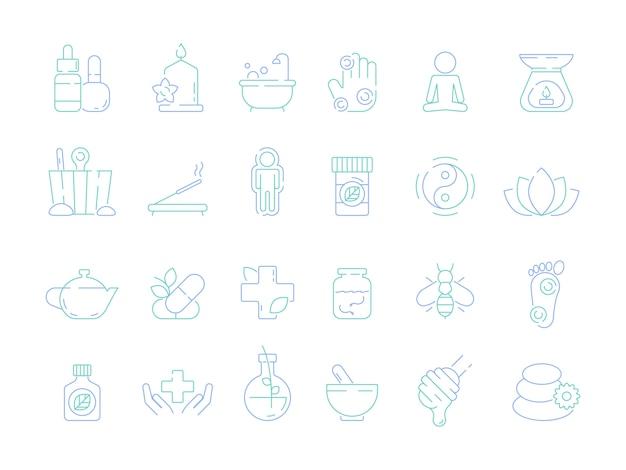 Icona di naturopatia tradizionale. simboli di vettore di strumenti di osteopatia e omeopatia di salute bioenergy vitamina bioenergia alternativa