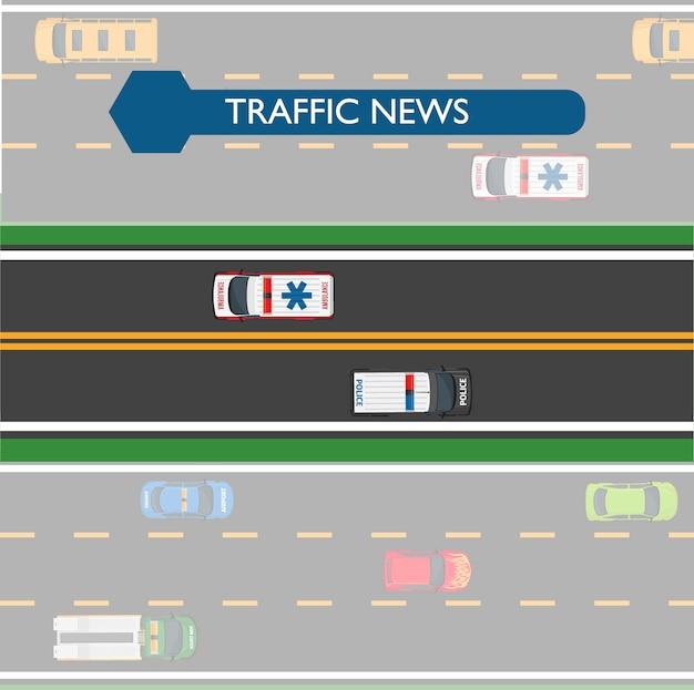 Icona di notizie sul traffico con linee stradali e trasporti