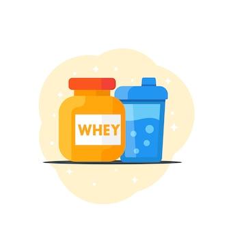 Icona di nutrizione sportiva, stile piano