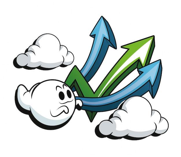Icona di nuvole e frecce fantasma del fumetto