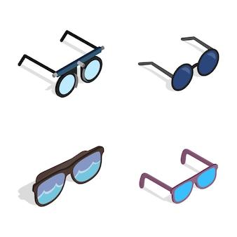 Icona di occhiali impostata su sfondo bianco