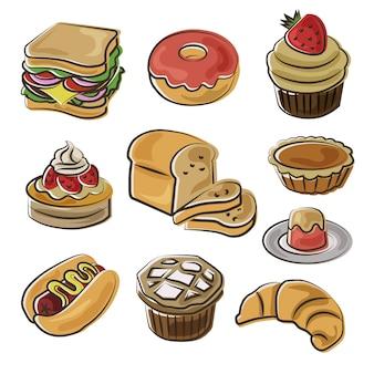 Icona di panetteria impostato in stile doodle