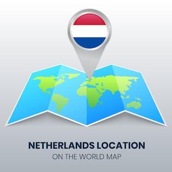 Icona di posizione dei paesi bassi sulla mappa del mondo