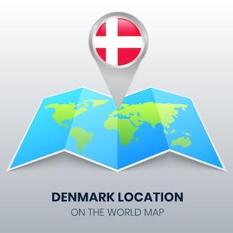 Icona di posizione della danimarca sulla mappa del mondo, icona spilla rotonda della danimarca