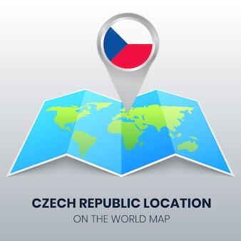 Icona di posizione della repubblica ceca sulla mappa del mondo