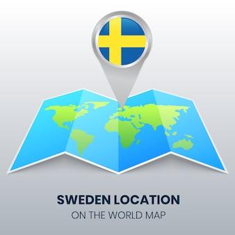 Icona di posizione della svezia sulla mappa del mondo, icona spilla rotonda della svezia