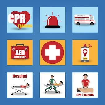 Icona di pronto soccorso, cpr, emergenza, salvataggio, dae, ambulanza, silenzioso, medico e paziente