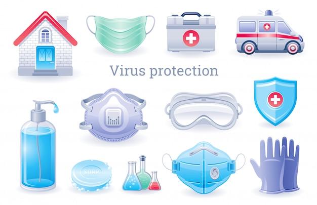 Icona di protezione da virus. collezione di prevenzione covid virus virus, set di elementi medici ppe.