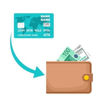 Icona di ricezione di contanti da una carta di pagamento. processo di trasferimento di denaro