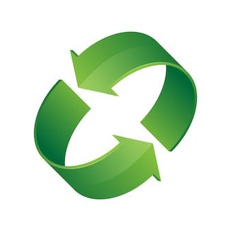 Icona di riciclaggio verde 3d. simbolo di rotazione ciclica, riciclo, rinnovo.