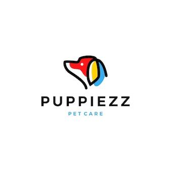 Icona di riempimento di colore testa linea logo monina del cane