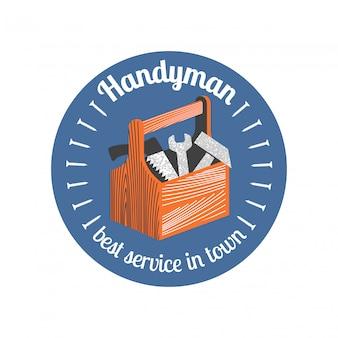 Icona di riparazione e ristrutturazione casa, badge