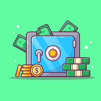 Icona di risparmio di denaro. cassetta di sicurezza, soldi e pila di monete, icona di affari isolata
