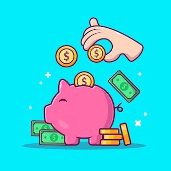 Icona di risparmio di denaro. porcellino, soldi e pila di monete, icona di affari isolata