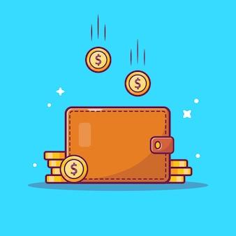 Icona di risparmio di denaro. portafoglio e pila di monete, icona di affari isolata