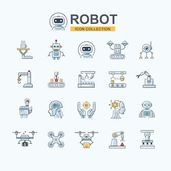 Icona di robot industriale impostata per tecnologia aziendale, braccio robotico, intelligenza artificiale, drone e industria manifatturiera.