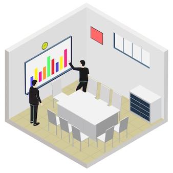 Icona di sala ufficio isometrica riunione
