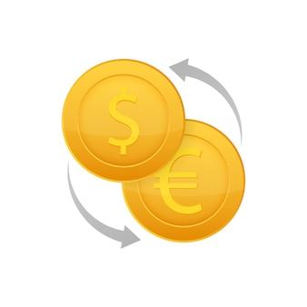 Icona di scambio di denaro. segno di valuta bancaria. simbolo di trasferimento di denaro in euro e in dollari.