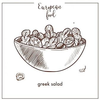 Icona di schizzo di insalata greca per il design della cucina europea cibo mediterraneo