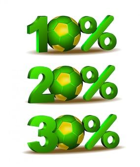 Icona di sconto del dieci, venti e trenta per cento con pallone da calcio