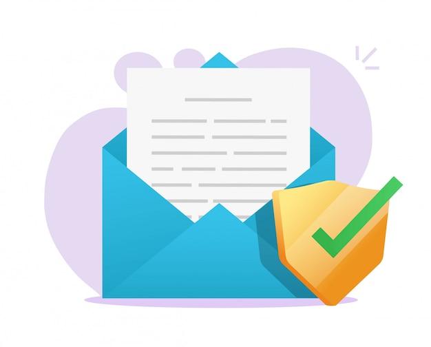 Icona di scudo digitale protetto del documento di posta elettronica sul file di testo della lettera di posta elettronica sul computer portatile