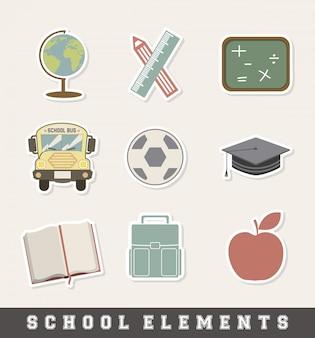 Icona di scuola sopra illustrazione vettoriale sfondo crema
