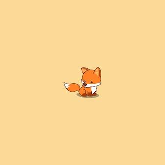 Icona di seduta del fumetto della volpe sveglia del bambino